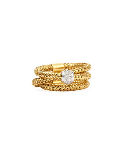 Primavera 18k Yellow Gold GHSI Diamond Triple-Row Ring, 0.10TCW