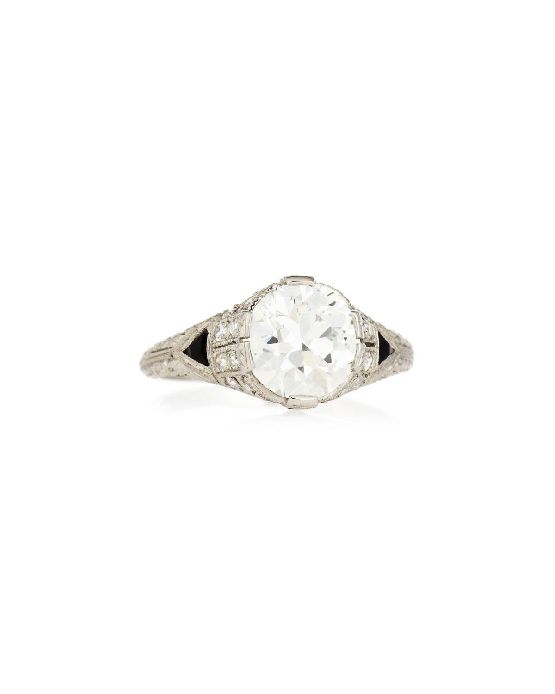 NM ESTATE Estate Art Deco Diamond & Onyx Engagement Ring, Size 6