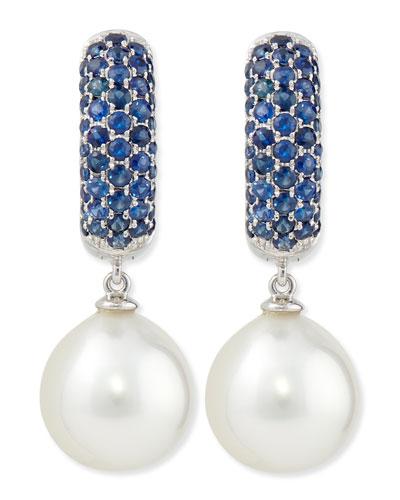 Aura Sapphire & White Pearl Earrings