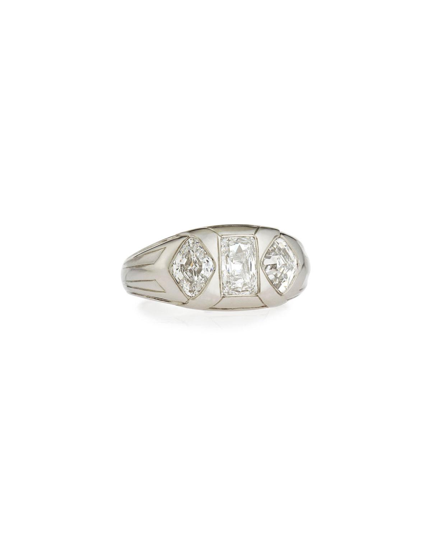 NM ESTATE Estate Art Deco Lozenge & Emerald-Cut Diamond Gents Ring, Size 10