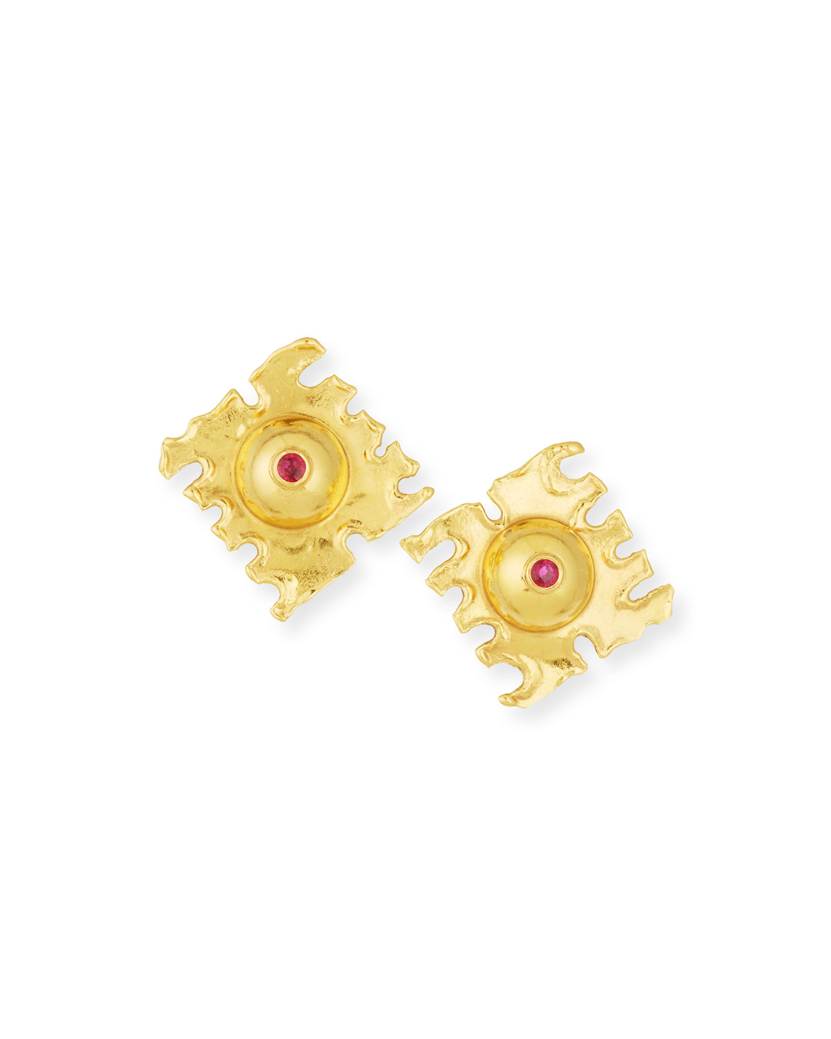 JEAN MAHIE De Coupe 22K Gold Earrings With Rubies