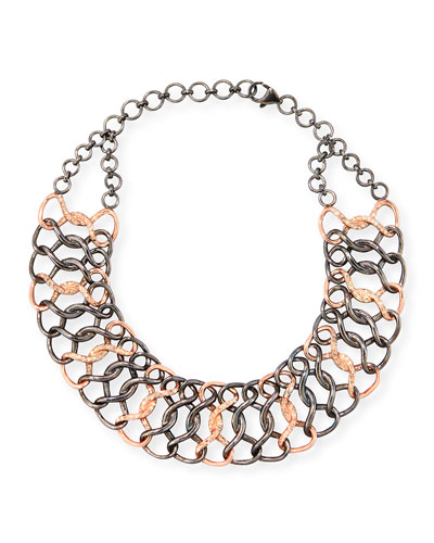 Silver & 14K Rose Gold Diamond Chain Choker Necklace