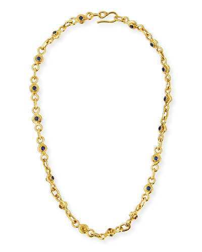 22K Gold Blue & Yellow Sapphire Necklace, 19