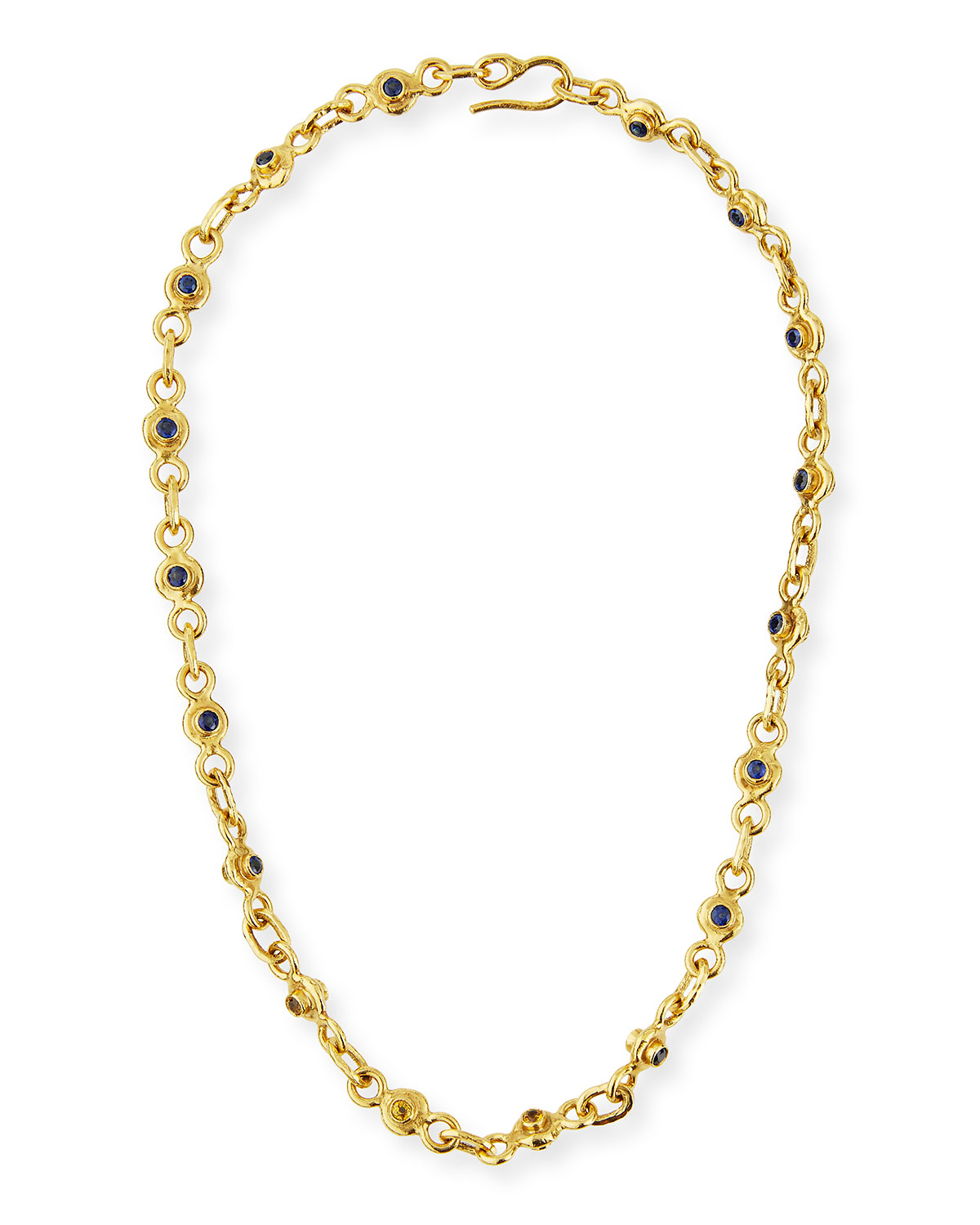 JEAN MAHIE 22K Gold Blue & Yellow Sapphire Necklace, 19""