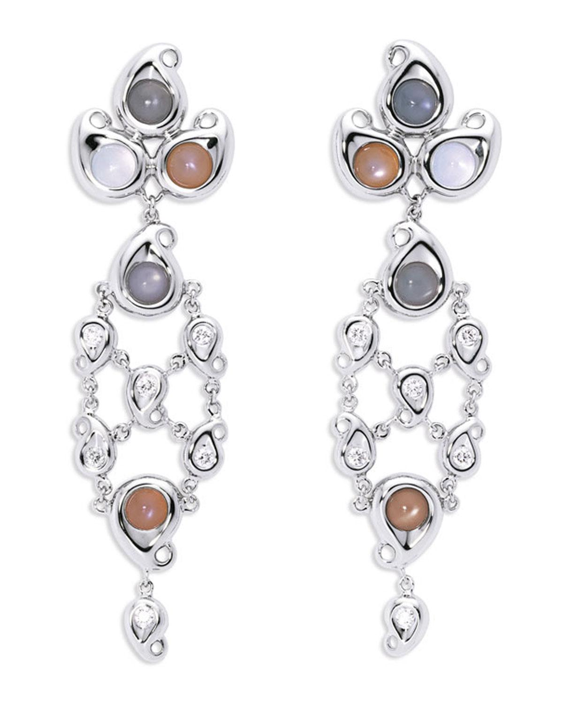 TAMARA COMOLLI Paisley Chandelier Cabochon Earrings In 18K White Gold