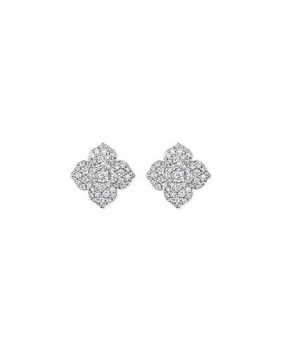 Large Pave Diamond Flower Earrings