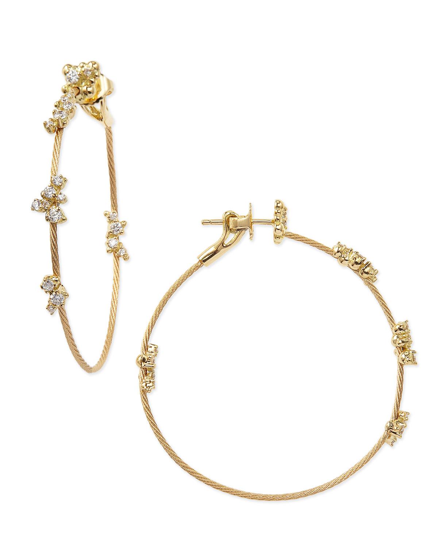6bdb6ec0903a1 18K Yellow Gold Diamond Confetti Single Wire-Hoop Earrings