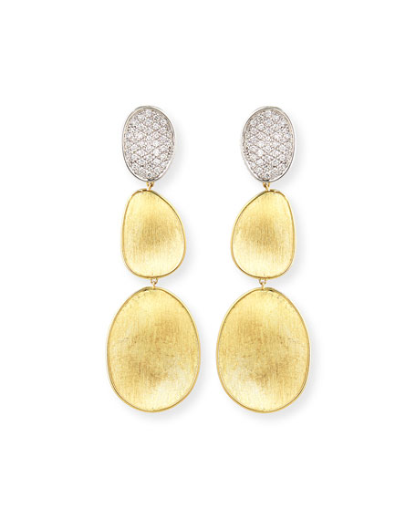 Marco Bicego 18K Lunaria Diamond Triple-Drop Earrings