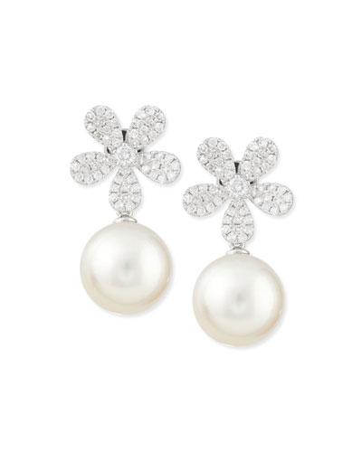 Fleur White Diamond & Pearl Earrings