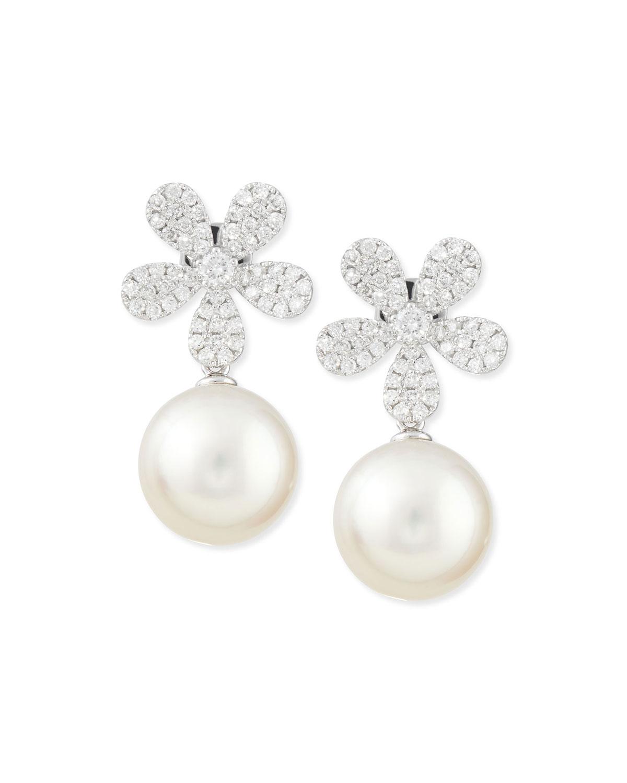 BELPEARL FLEUR WHITE DIAMOND & PEARL EARRINGS