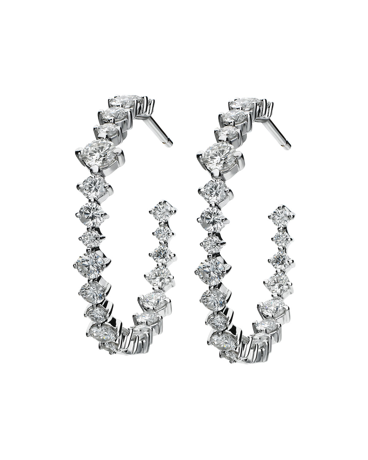 MARIA CANALE HOOPS MIXED-SIZE DIAMOND EARRINGS