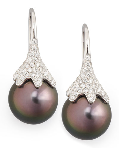 Gray South Sea Pearl & Diamond Drop Earrings, 0.56ct