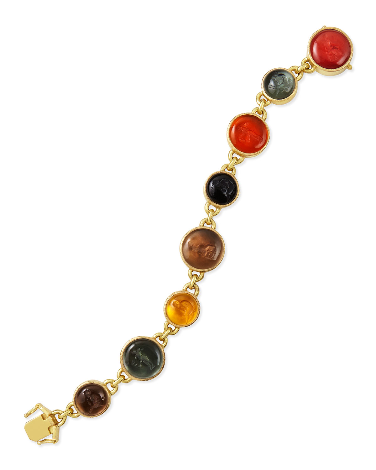 ELIZABETH LOCKE VENETIAN GLASS INTAGLIO TENNIS BRACELET, NEUTRAL