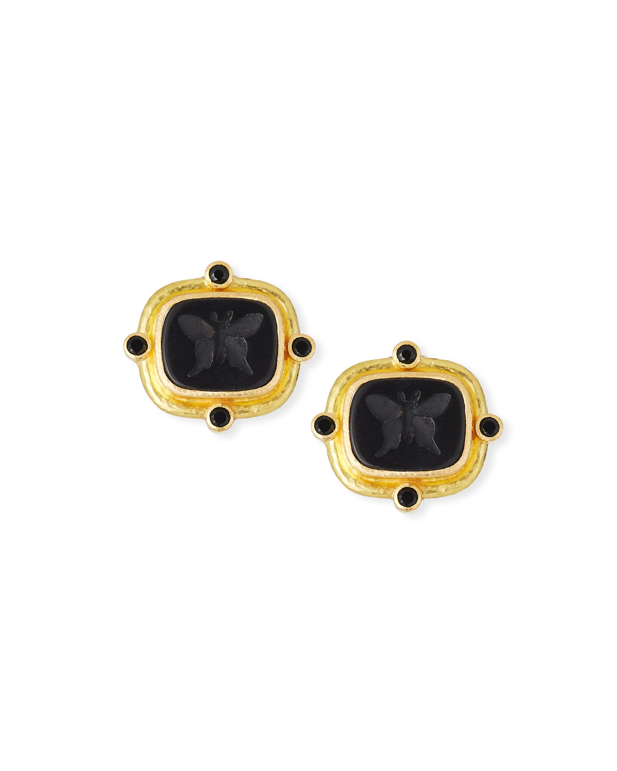 ELIZABETH LOCKE BUTTERFLY INTAGLIO CLIP/POST EARRINGS, BLACK