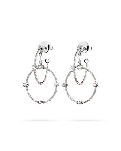 18k White Gold Diamond Link Earrings, 28mm