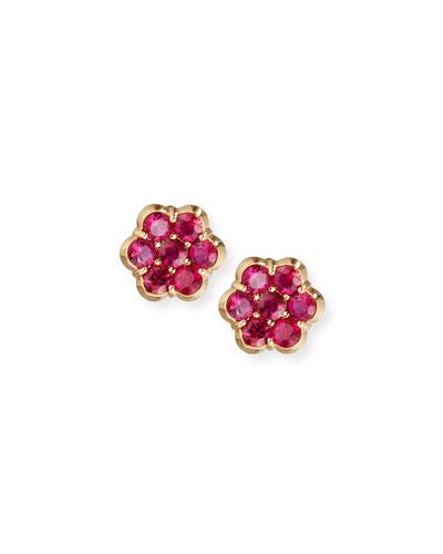 18K Gold & Ruby Floral Stud Earrings