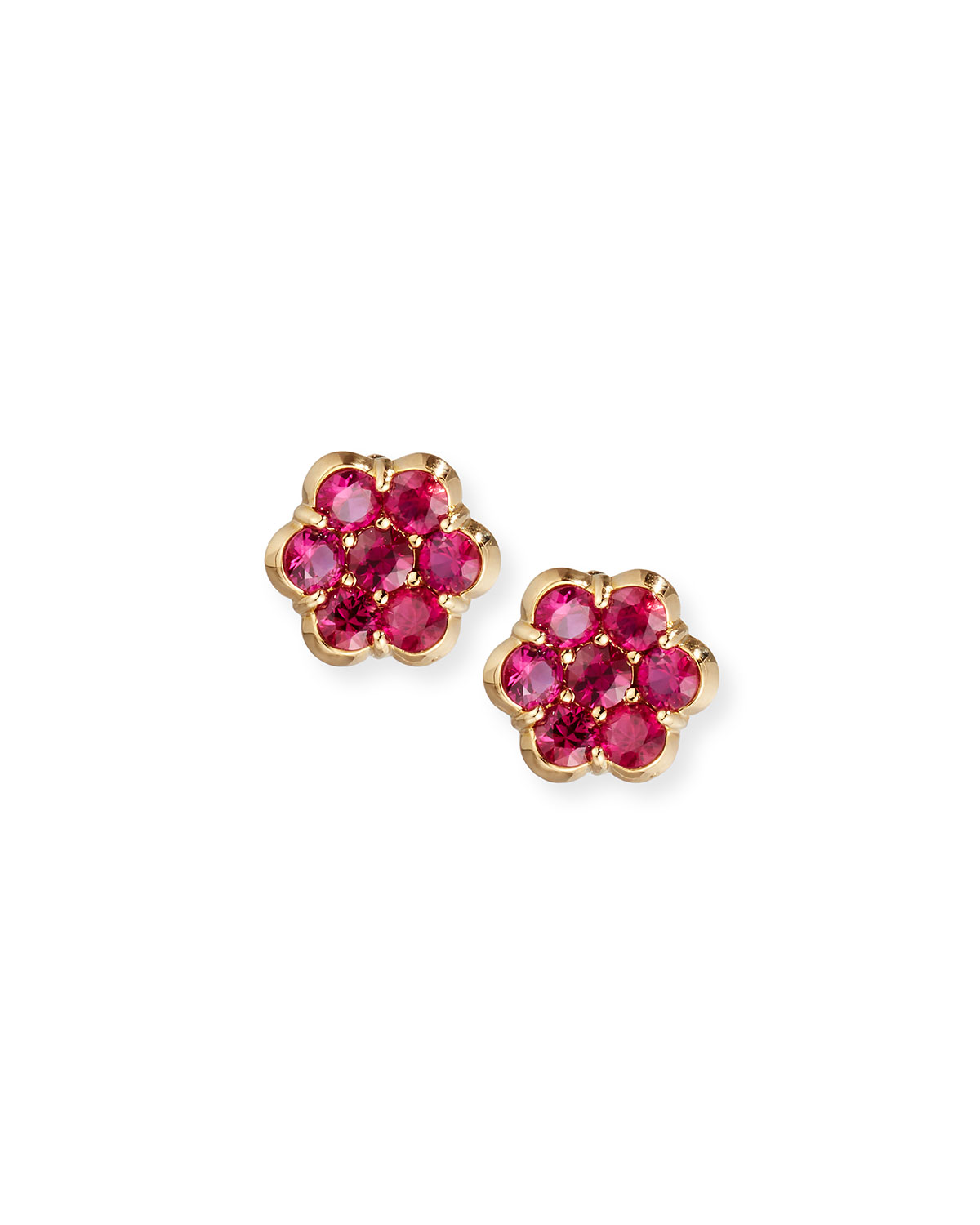 BAYCO 18K Gold & Ruby Floral Stud Earrings