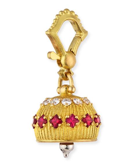 Paul Morelli 18k Diamond/Ruby Meditation Bell Pendant, 12mm