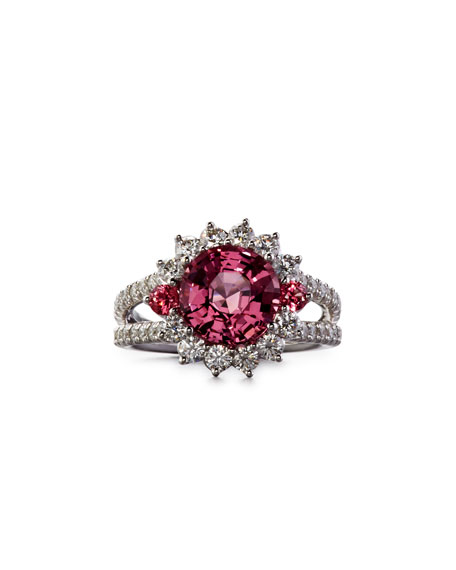 Robert Erich Burma Pink Spinel Ring with Diamonds, Size 6.75