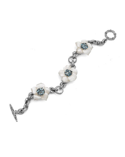 Three Flower Station Bracelet with Swiss Blue Topaz