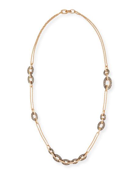 Pomellato Tango 18k Rose Gold Brown Diamond Link Necklace