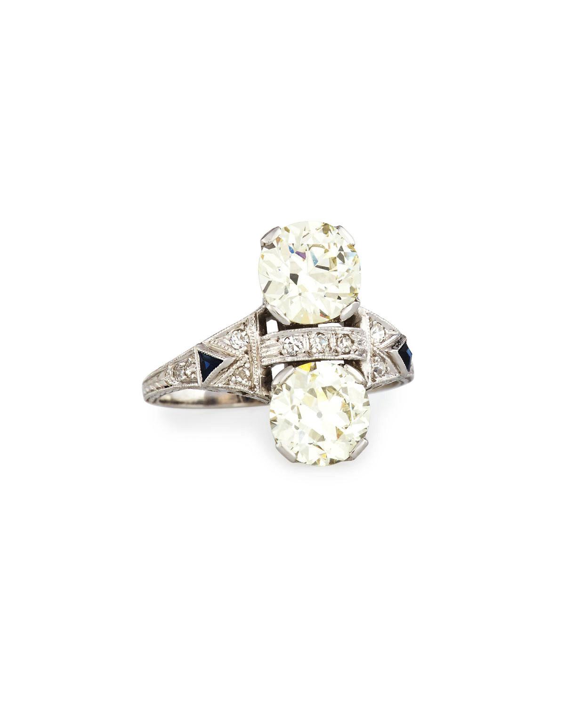 NM ESTATE Estate Art Deco Two-Stone Diamond Dinner Ring