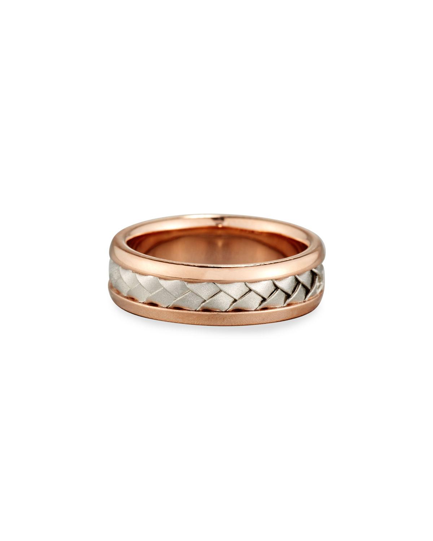 ELI GENTS CENTER WEAVE WEDDING BAND RING IN 18K ROSE GOLD & PLATINUM, SIZE 9.5
