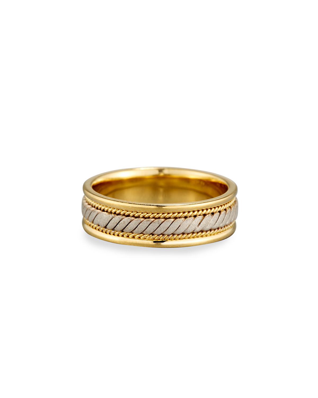 ELI GENTS TWISTED 18K YELLOW & WHITE GOLD WEDDING BAND RING, SIZE 10