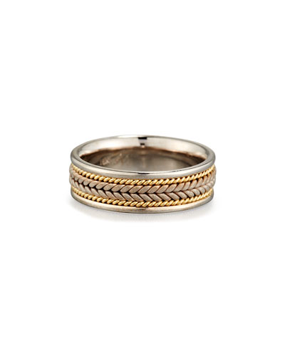Gents Center Weave Wedding Band Ring in 18K Gold & Platinum, Size 10