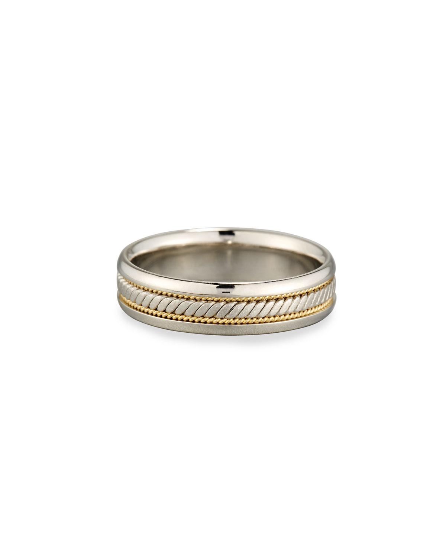 ELI GENTS PLATINUM & 18K GOLD TWISTED WEDDING BAND RING, SIZE 10
