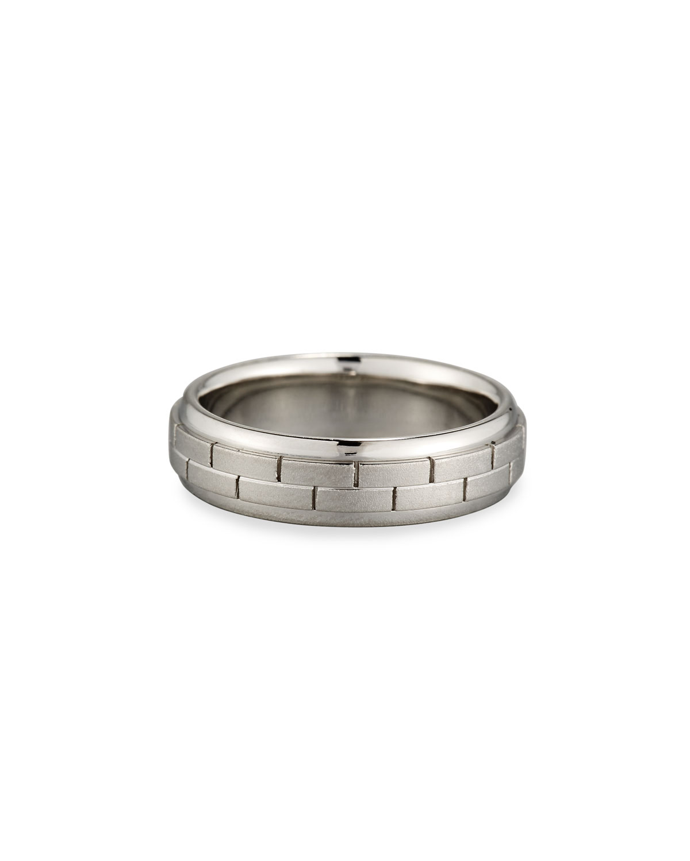 ELI GENTS BRICK PATTERN PLATINUM WEDDING BAND RING, SIZE 10