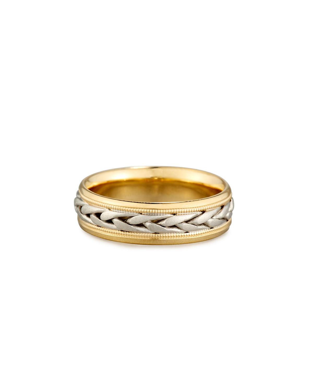 ELI Gents Two-Tone Braided 18K Gold Wedding Band Ring, Size 10