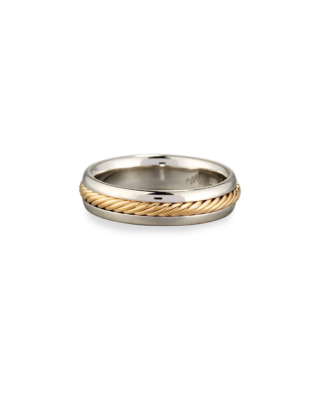 ELI GENTS BRAIDED PLATINUM & 18K GOLD WEDDING BAND RING
