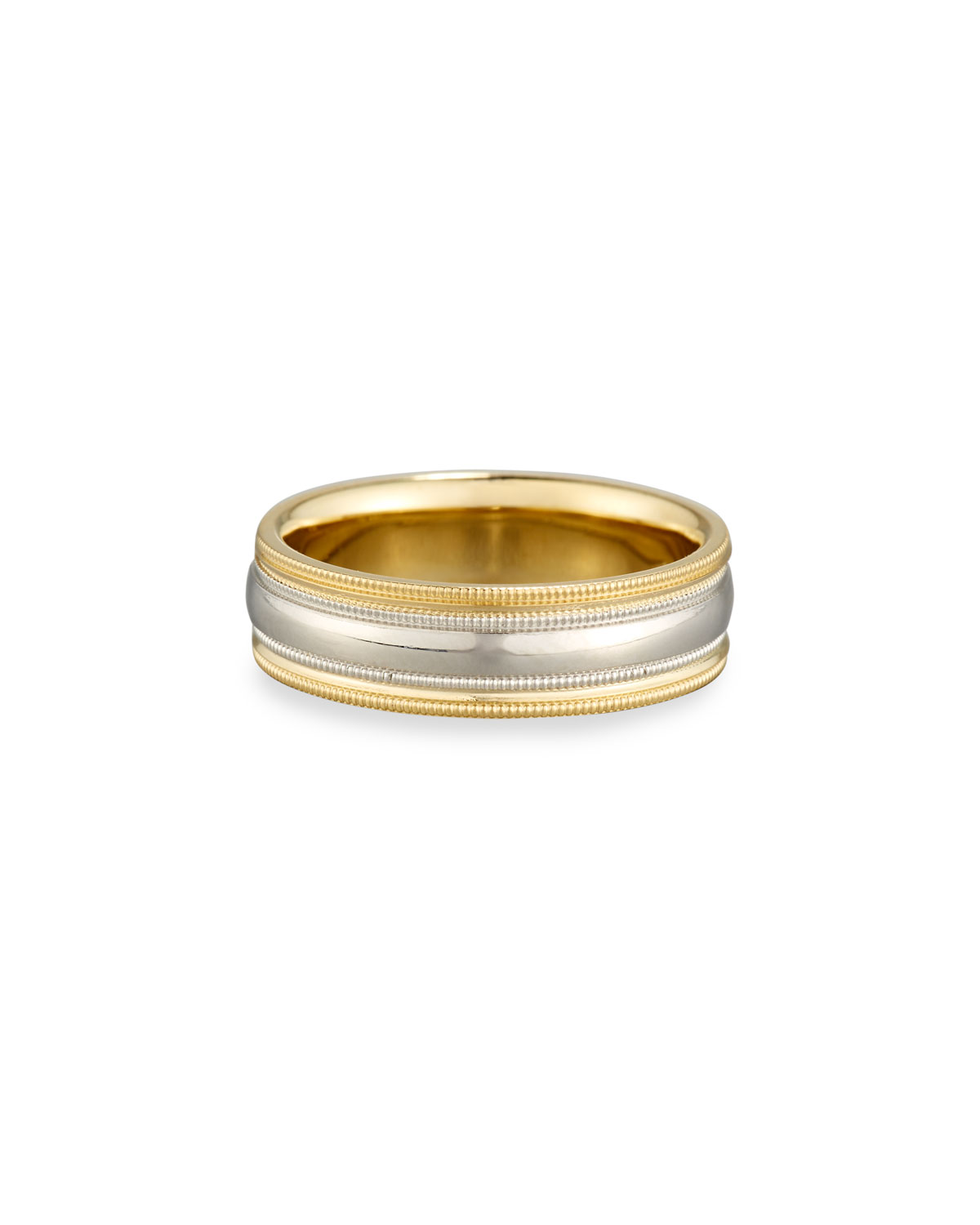 ELI GENTS SIMPLE WEDDING BAND RING IN PLATINUM & 18K GOLD, SIZE 10