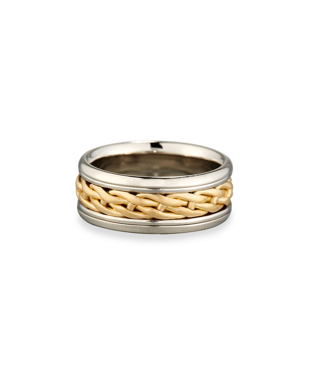 ELI GENTS WOVEN PLATINUM & 18K GOLD WEDDING BAND RING, SIZE 10