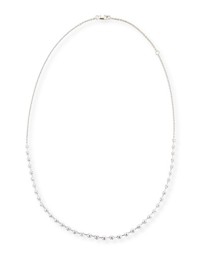 Spaced Diamond Line Necklace in 18K White Gold, 2.0 tdcw
