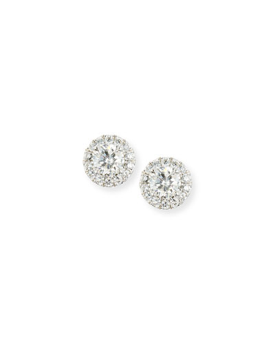 Diamond Halo Stud Earrings, 0.77 tdcw