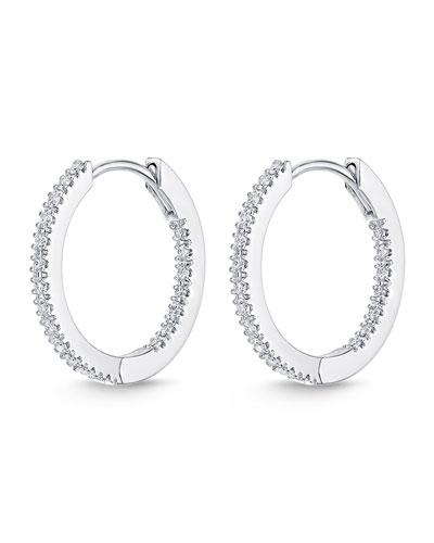 Memoire Diamond Eternity Hoop Earrings in 18K White Gold CdjiLdE