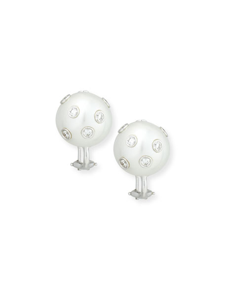 Assael South Sea Pearl & Bezel-Set Diamond Button Clip Earrings