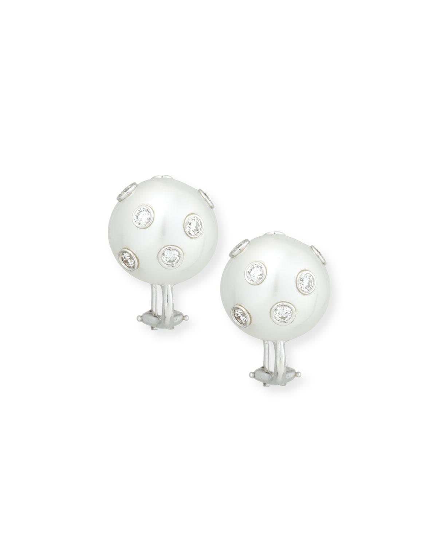 ASSAEL South Sea Pearl & Bezel-Set Diamond Button Clip Earrings