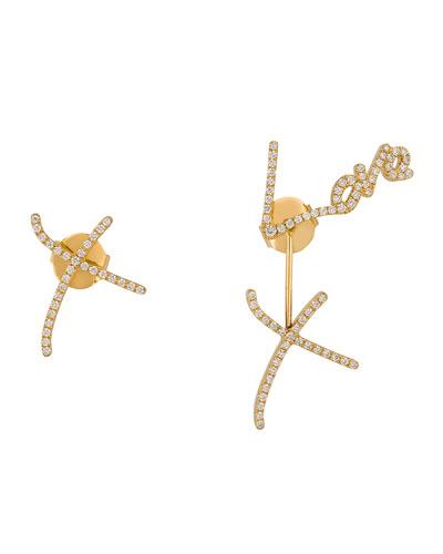 Love & Kisses Pavé Diamond Earrings in 18K Yellow Gold