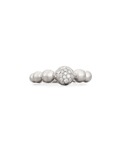 Graduated 18K White Gold Bead Ring with White Diamonds, Size 6.5