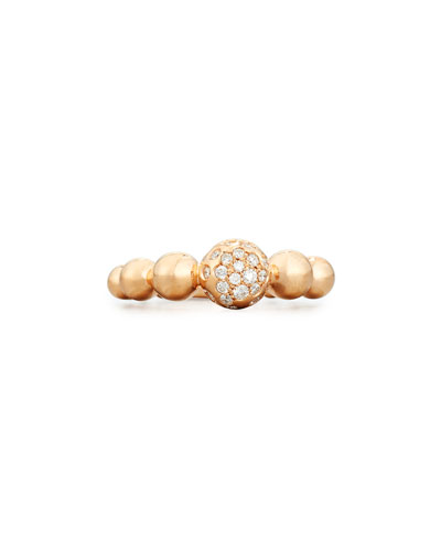 Graduated 18K Rose Gold Bead Ring with White Diamonds, Size 6.5