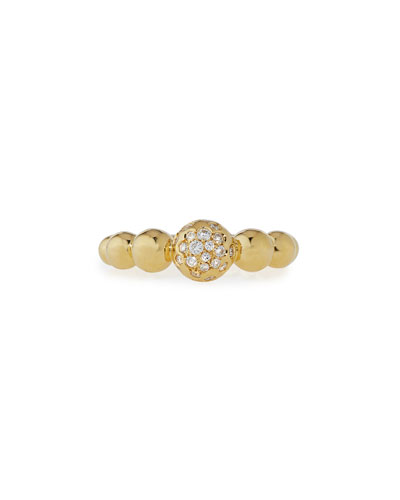 Graduated 18K Yellow Gold Bead Ring with White Diamonds, Size 6.5