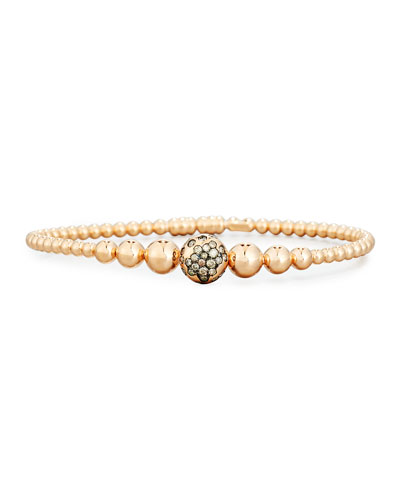Graduated 18K Rose Gold Bead Bracelet with Brown Diamonds