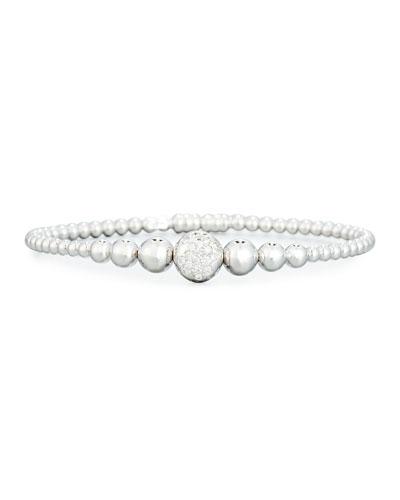 Graduated 18K White Gold Bead Bracelet with White Diamonds