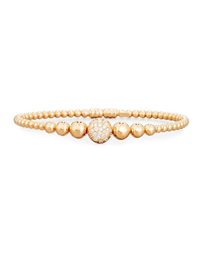 Graduated 18K Rose Gold Bead Bracelet with White Diamonds