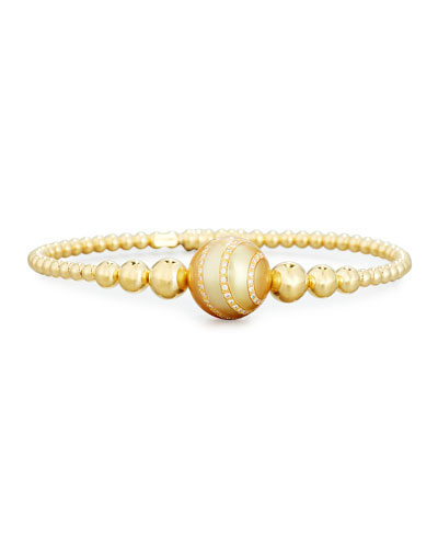 Beaded Bracelet in 18K Yellow Gold with Diamond-Striped Pearl