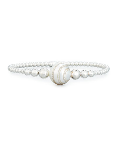 Beaded Bracelet in 18K White Gold with Diamond-Striped Pearl