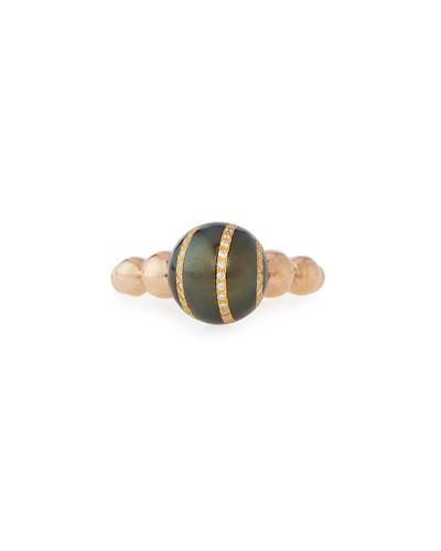 Diamond-Striped Tahitian Pearl Ring, Size 6.5